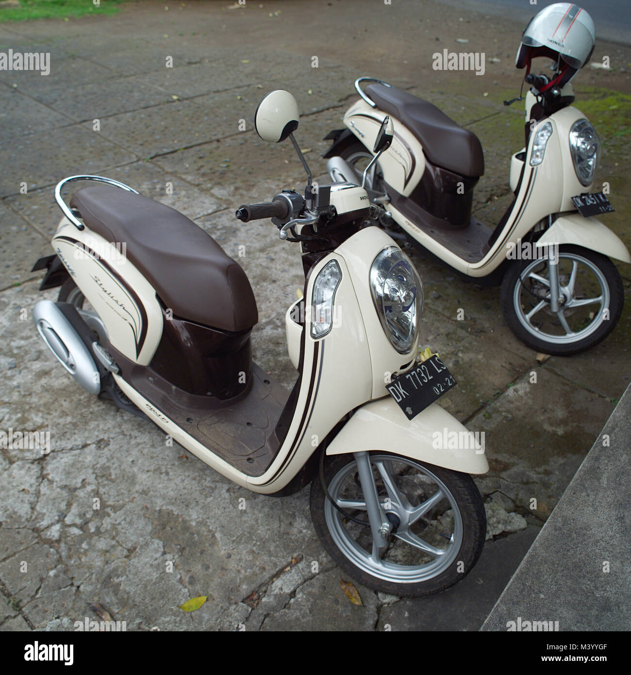 BALI, INDONESIA - AUGUST 6, 2017 - Modern classic scooter at Bali, Indonesia - Stock Image