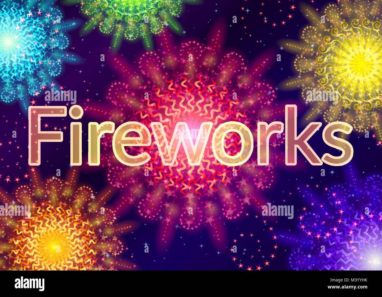 Firework, Holiday Background - Stock Image