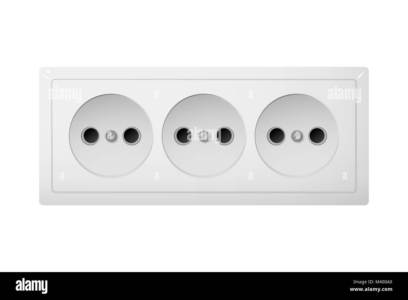 Triple electrical socket Type C. Power plug vector illustration ...