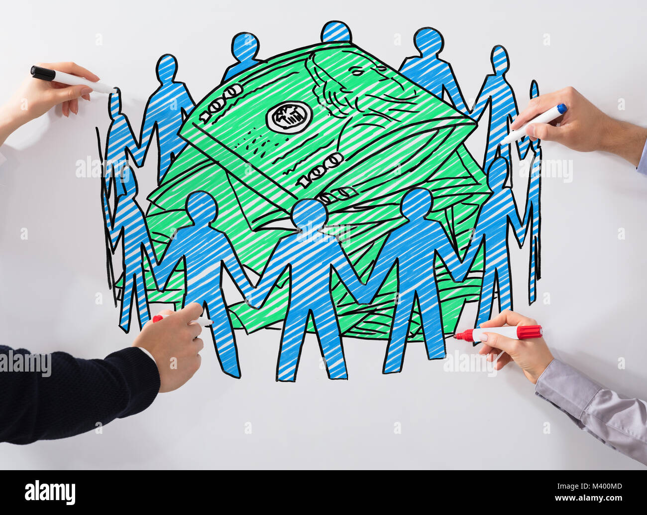 Close-up Of Business People's Hand Drawing Crowd Funding Chart With Marker On Whiteboard - Stock Image