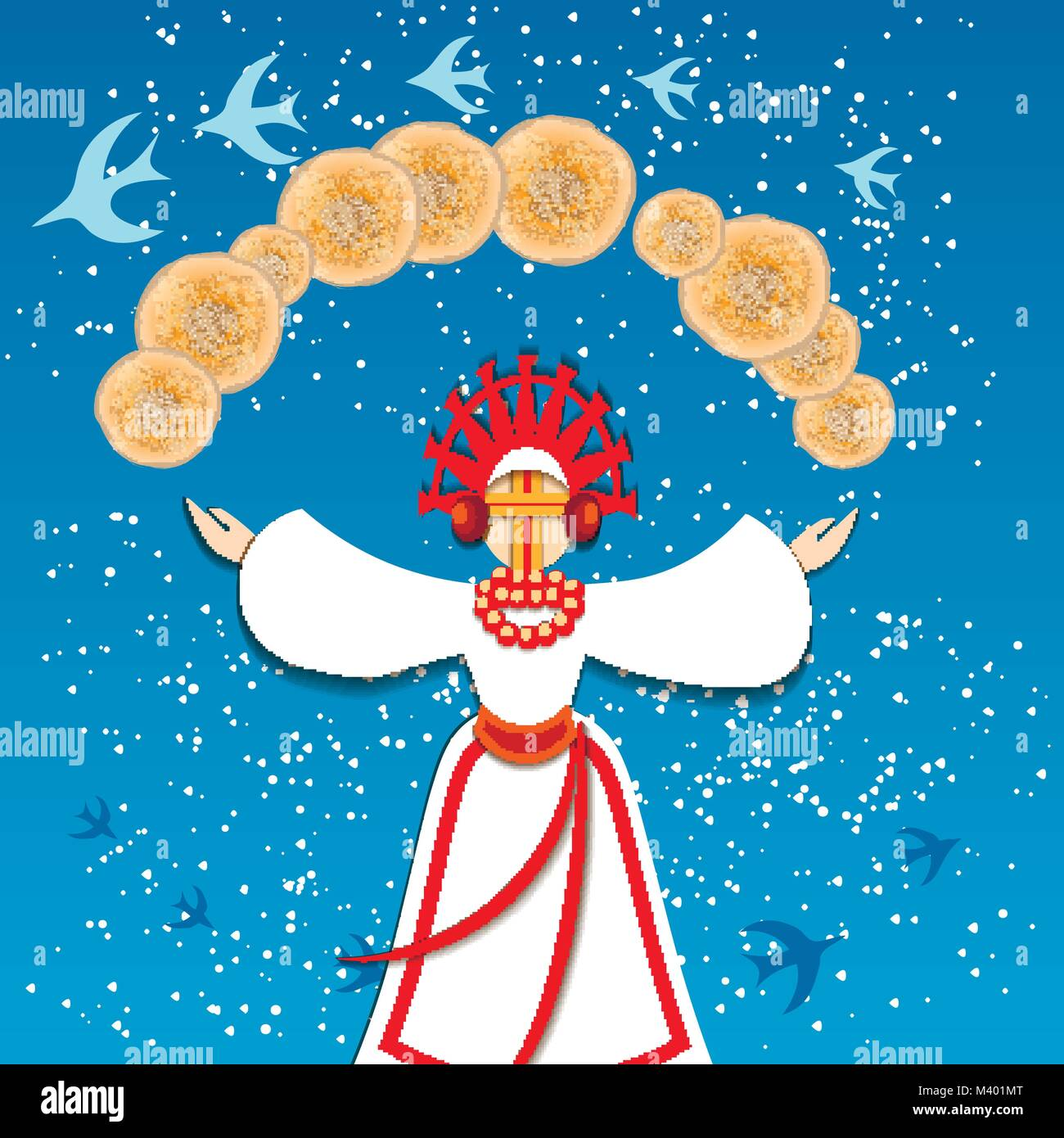 Russian traditional holiday Maslenitsa. The arrival of spring and the departure of winter. Migratory birds return. - Stock Vector