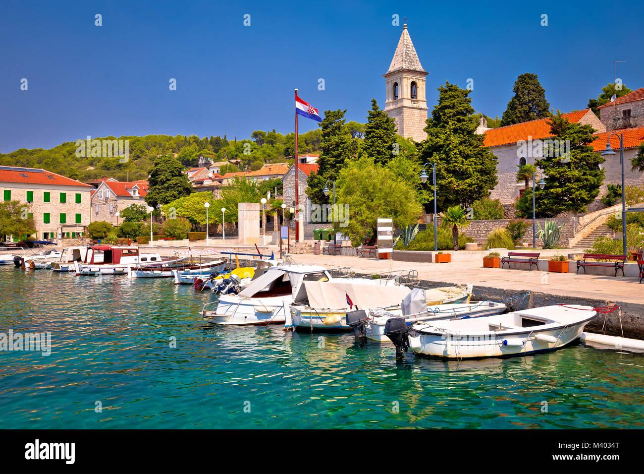 Prvic Luka island village waterfront view, Sibenik archipelago of Dalmatia, Croatia - Stock Image