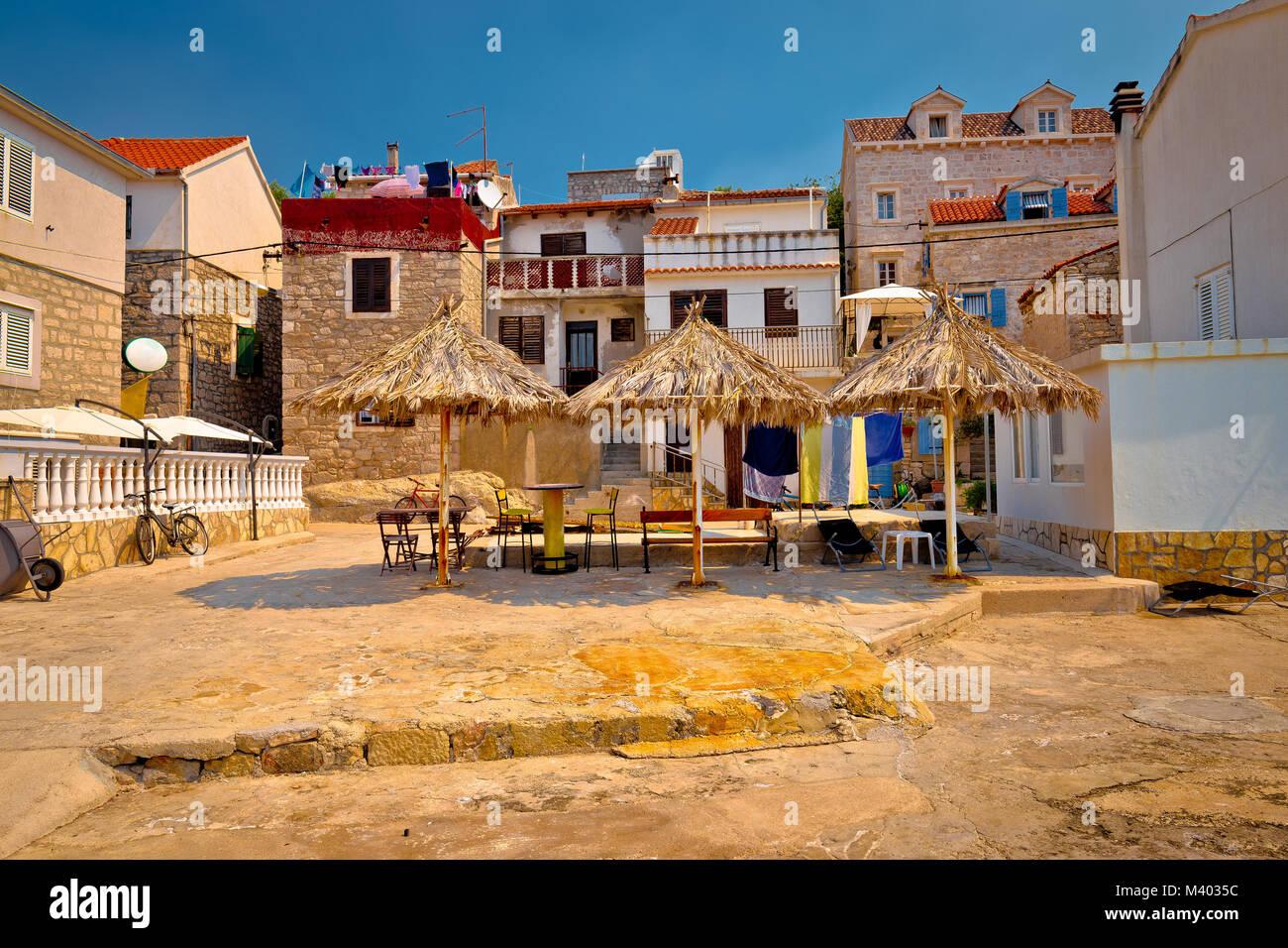 Prvic Luka waterfront architecture view, Sibenik archipelago of Dalmatia, Croatia - Stock Image