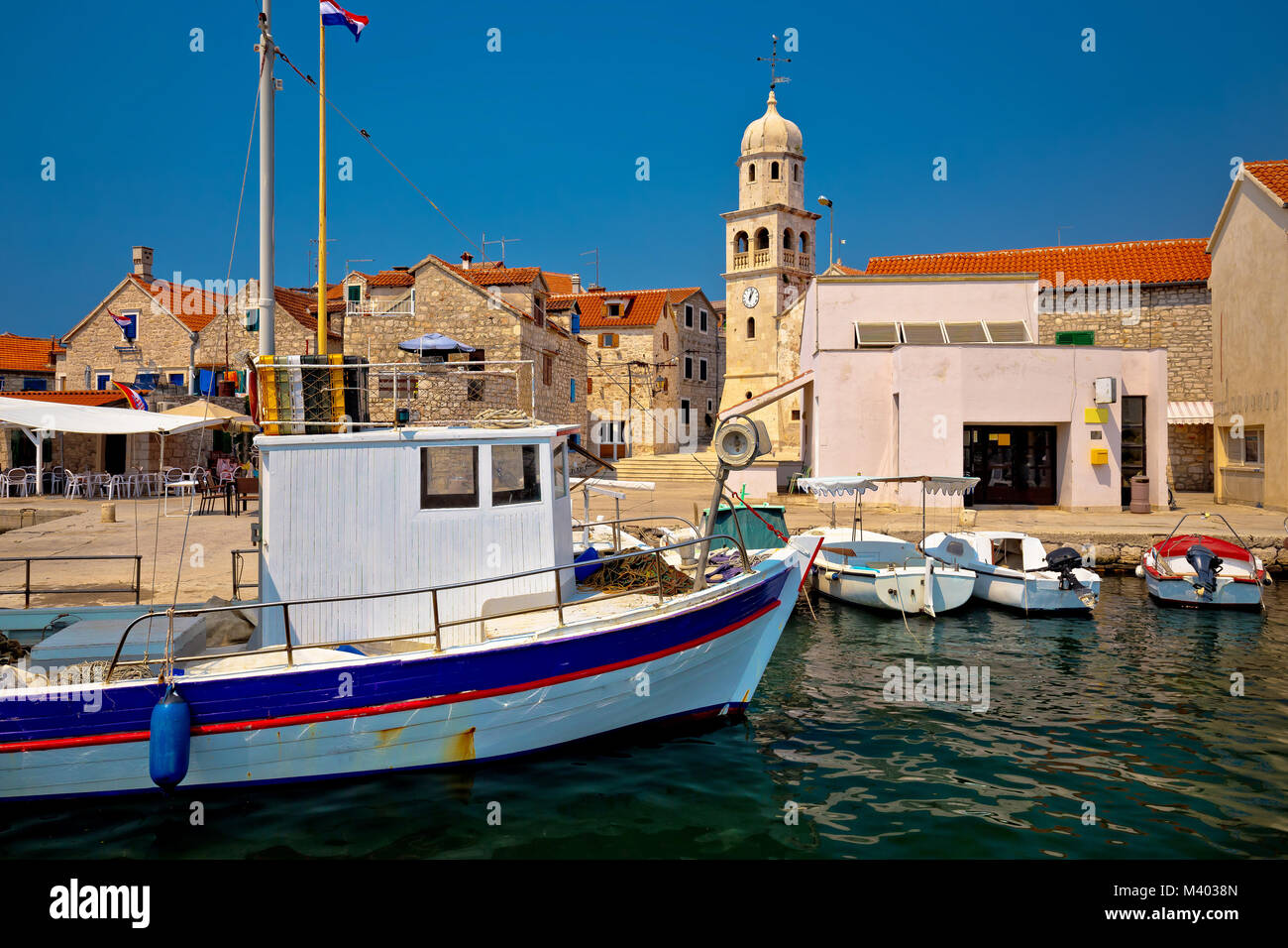 Island of Prvic harbor and waterfront view in Sepurine village, Sibenik archipelago of Croatia - Stock Image