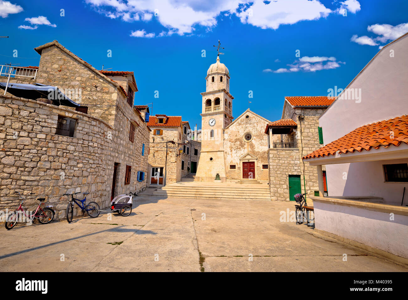 Prvic Sepurine stone architecture view, Sibenik archipelago of Croatia - Stock Image
