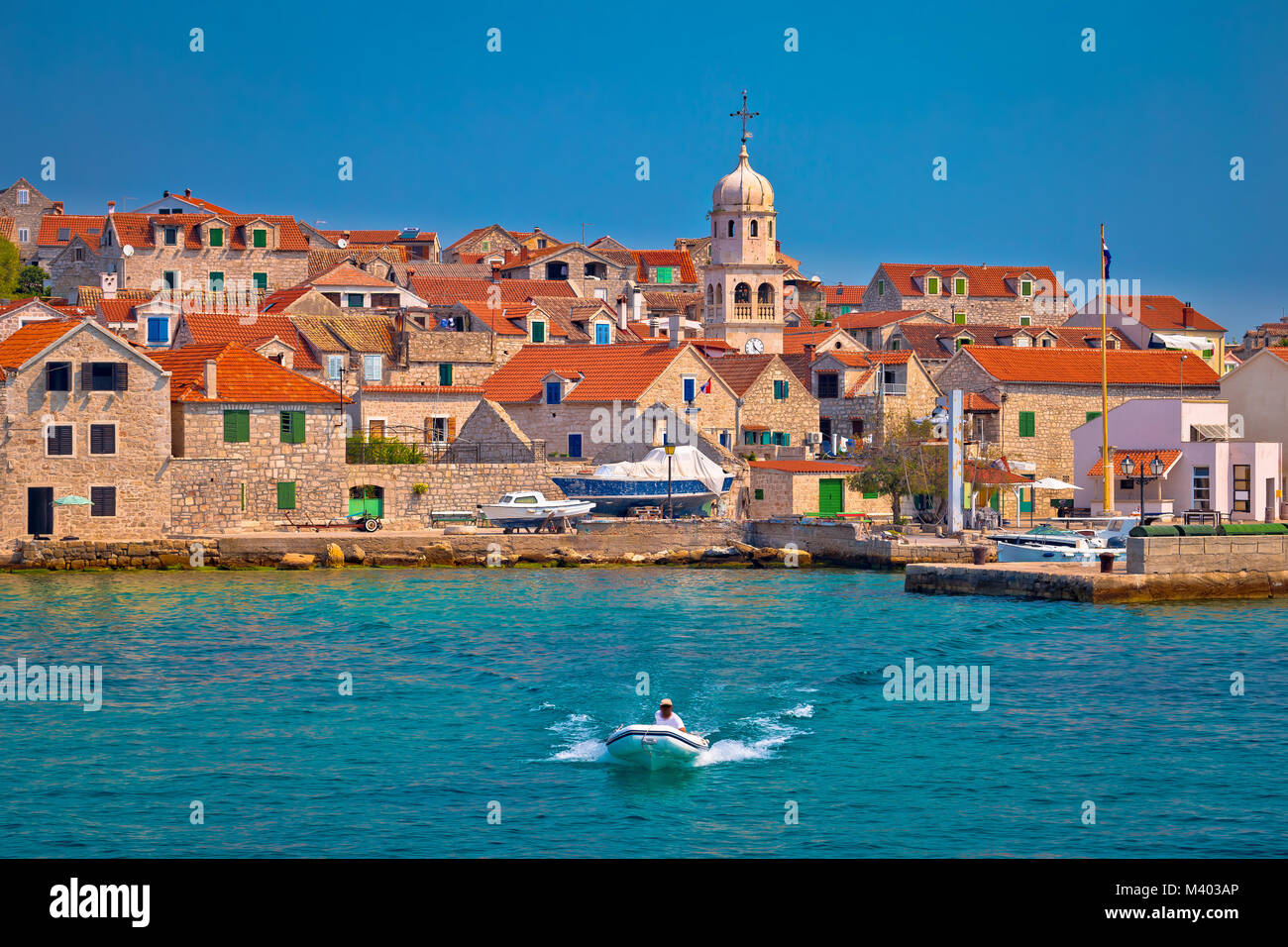 Prvic Sepurine waterfront and stone architecture view, Sibenik archipelago of Croatia - Stock Image