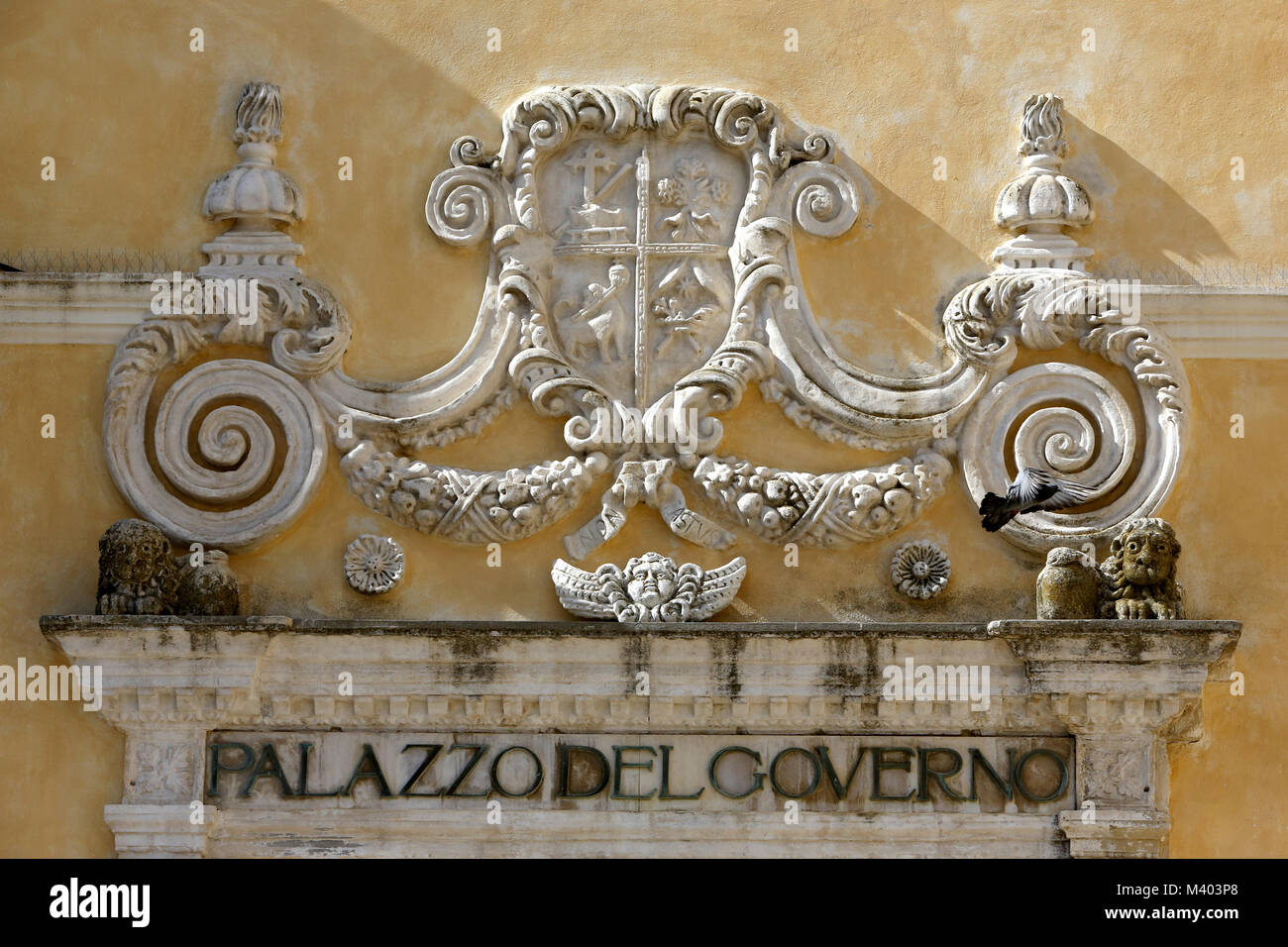 Italy, Basilicata, Matera, Detail of the Government's Palace - Stock Image