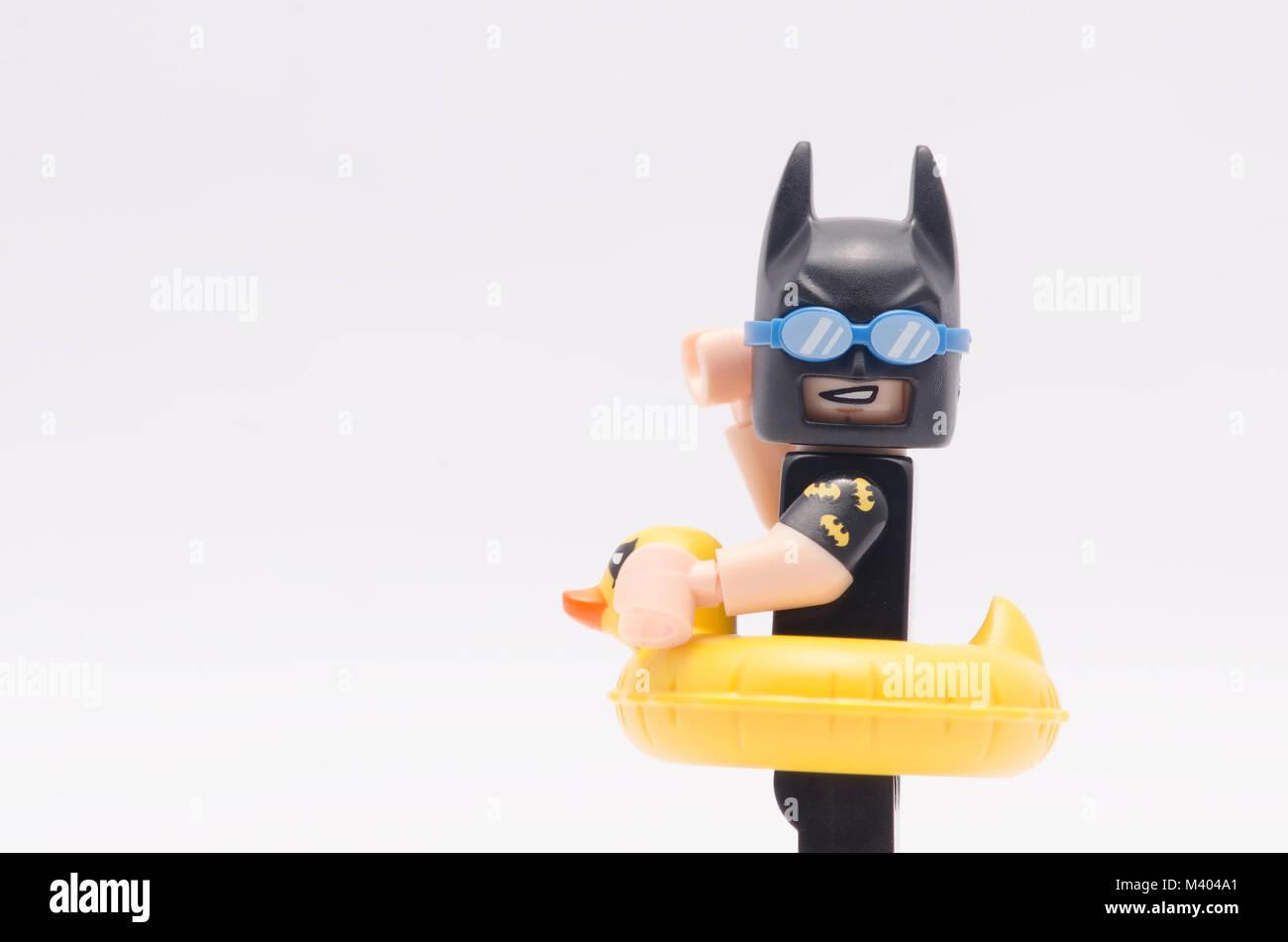 Close Up Lego Vacation Batman Isolated On White Background
