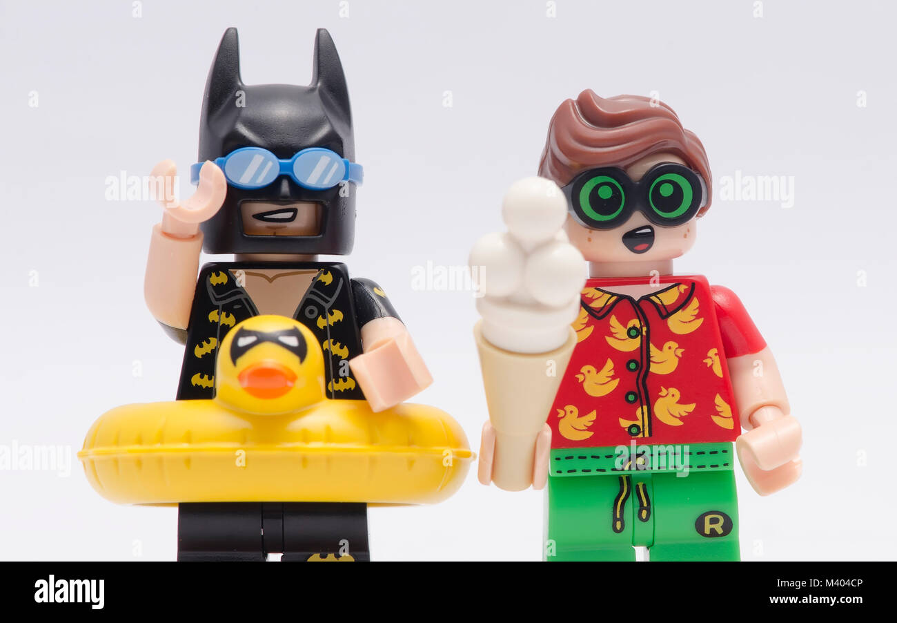 Close Up Lego Vacation Batman And Robin Isolated On White Background