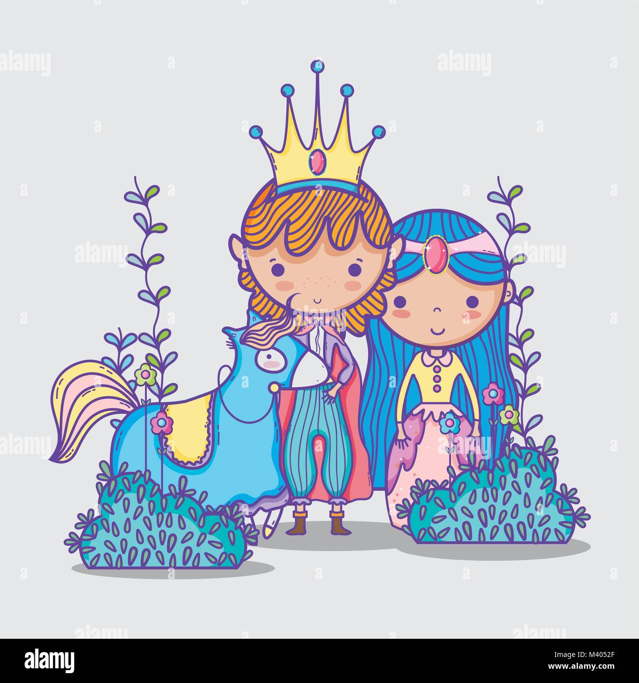 Princesses in magic world cartoon man with sunglasses and dollar symbol inside chat bubble - Stock Image