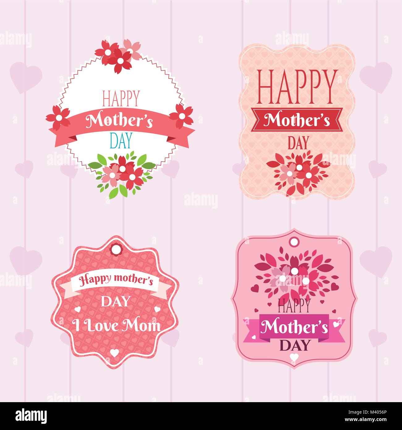 Happy mothers day emblems - Stock Image