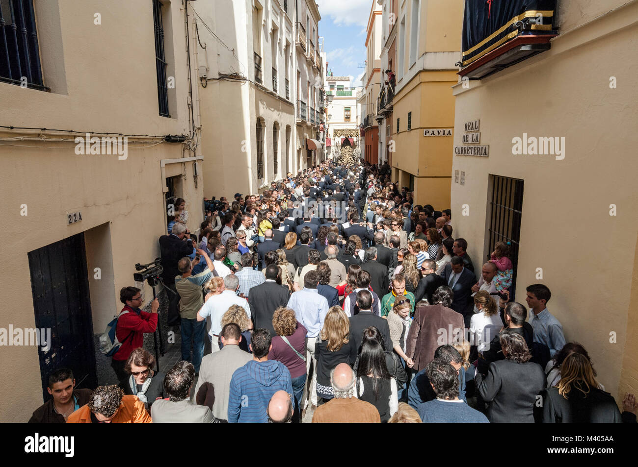 Point of view in which the float of pallium of the brotherhood of 'La Carreteria' is appreciated, followed - Stock Image