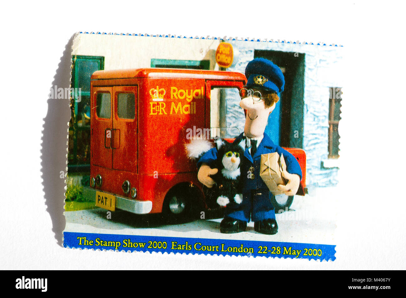 old UK postage stamps showing 'Postman Pat' - Stock Image