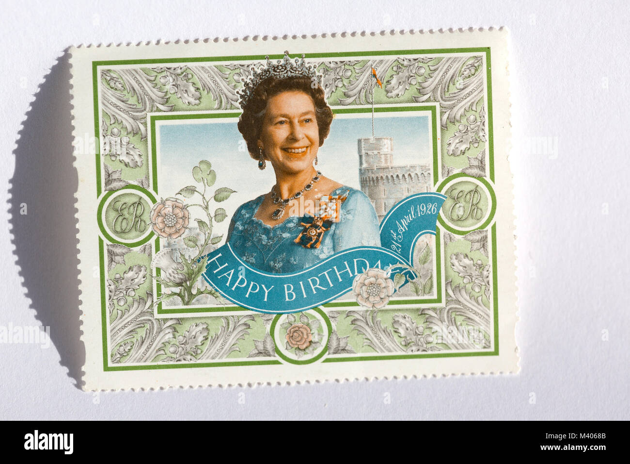 old UK postage stamps celebrating Queen Elizabeth's birthday - Stock Image