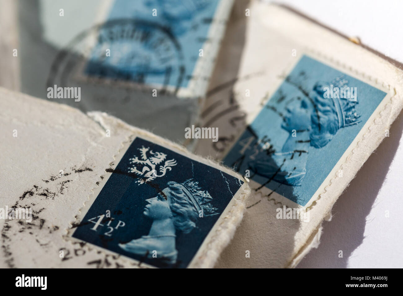 old UK postage stamps - Stock Image