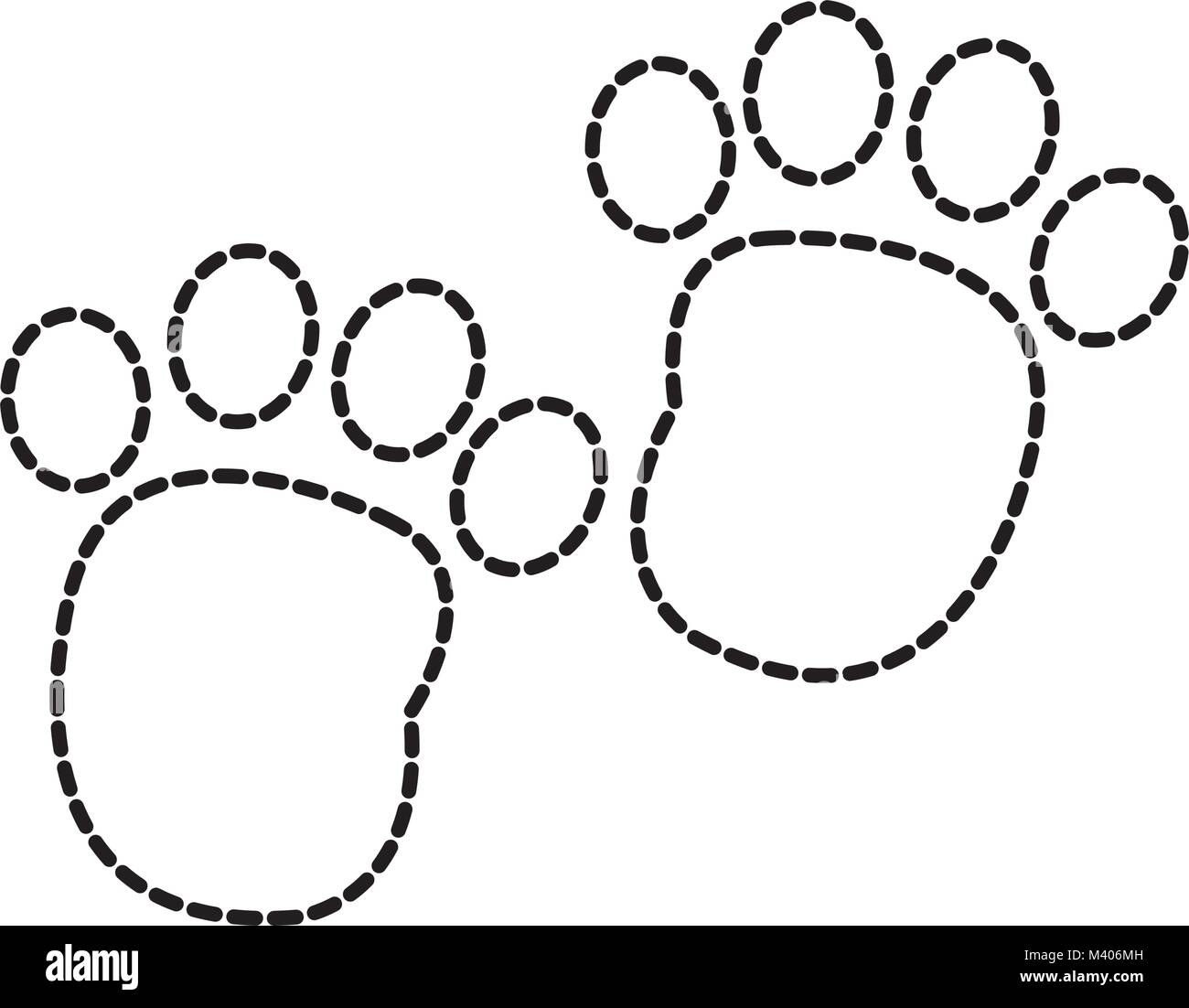 dotted shape human footprint with toes mark sign - Stock Vector