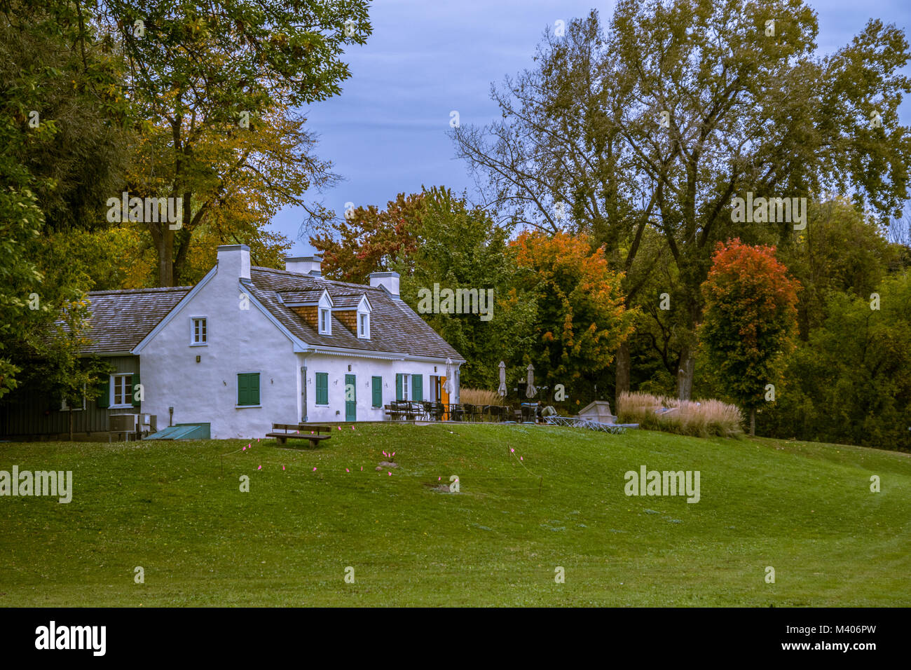 Beautiful Cottage House in Public Park in Gatineau,  Quebec City, Canada Stock Photo