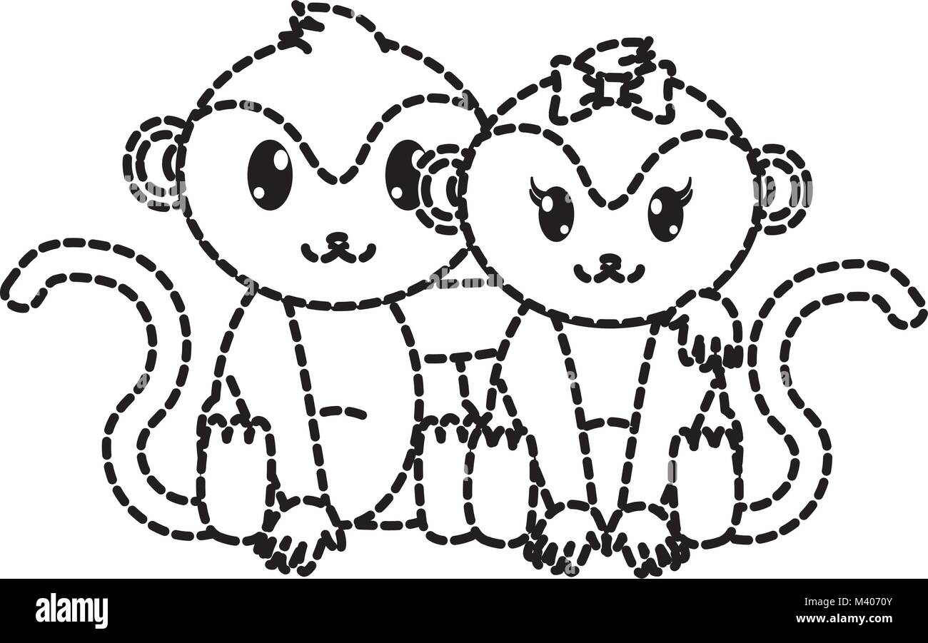 dotted shape monkey couple cute animal together