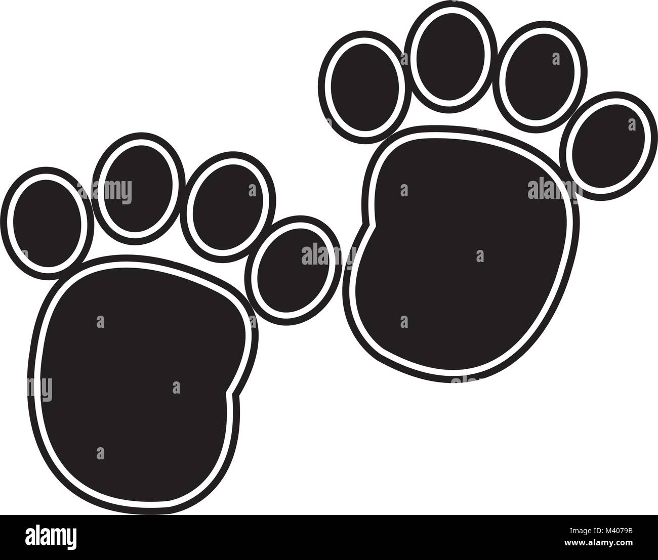 silhouette human footprint with toes mark sign - Stock Vector