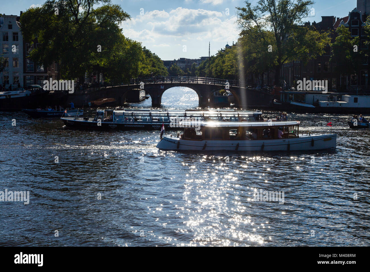 View east along the Nieuwe Prinsengracht from the Amstel - Stock Image
