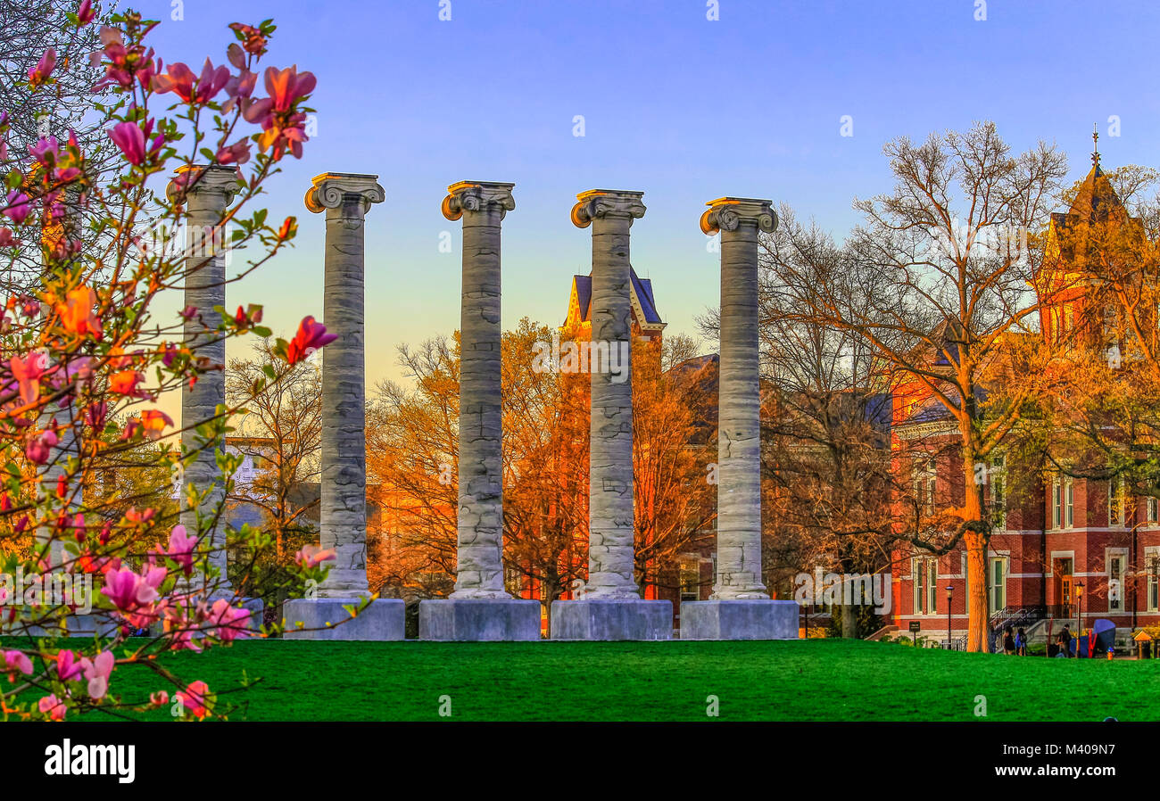 View of the University of Missouri campus in the spring at sunset; Columbia, Missouri, Midwest - Stock Image