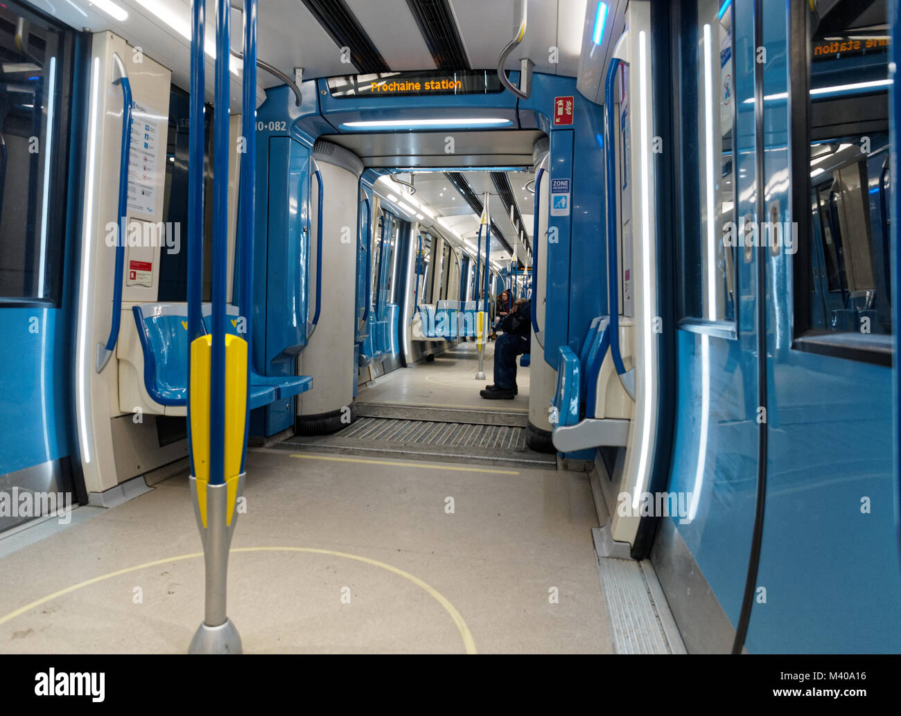 Interior of the new Azur metro cars in Montreal,Canada - Stock Image