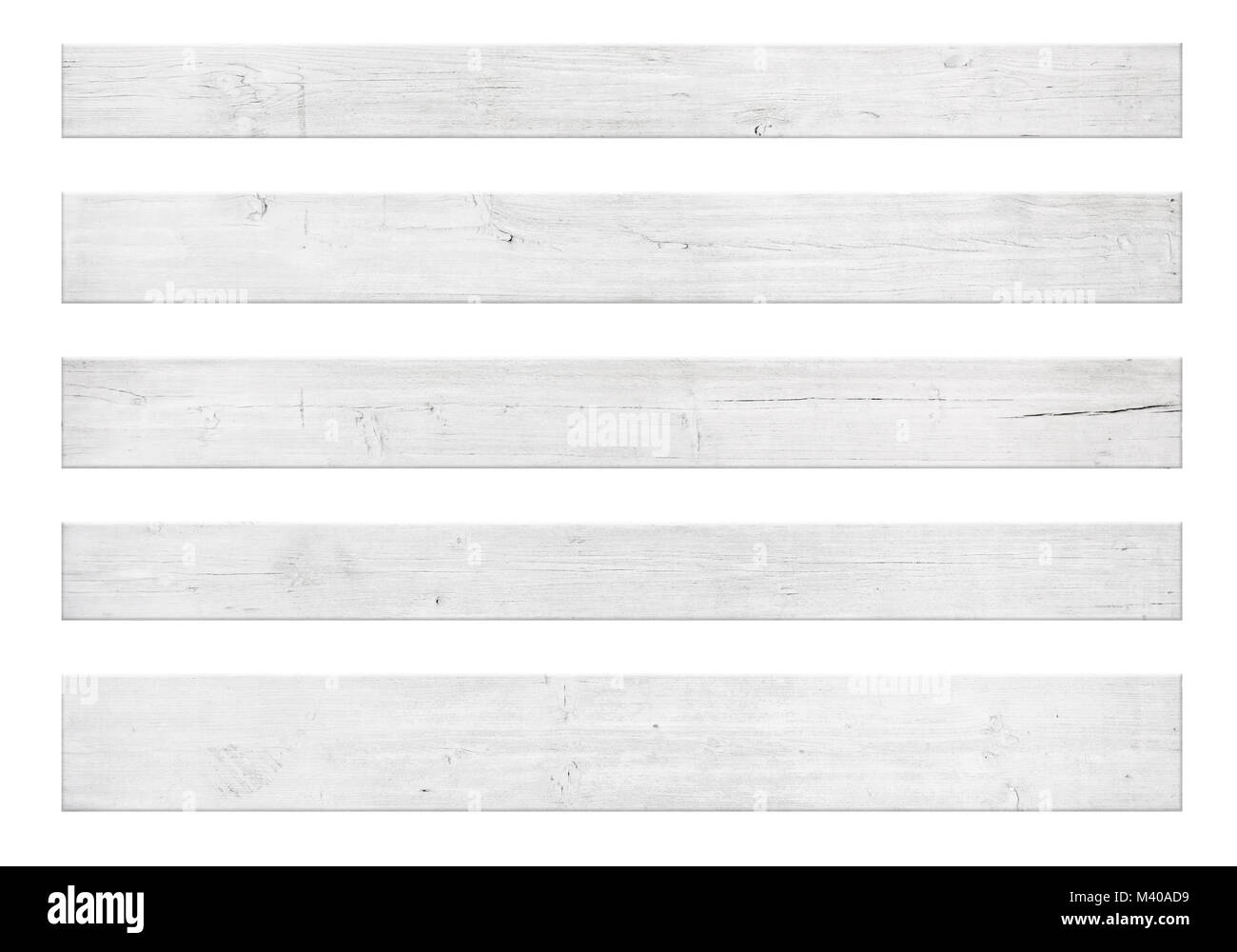 Painted wooden planks for text isolated on white background - Stock Image