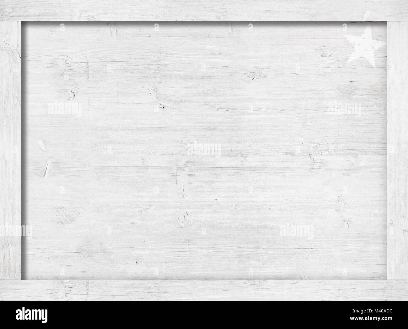 Side of white painted wooden crate, box, frame for text, message or picture - Stock Image