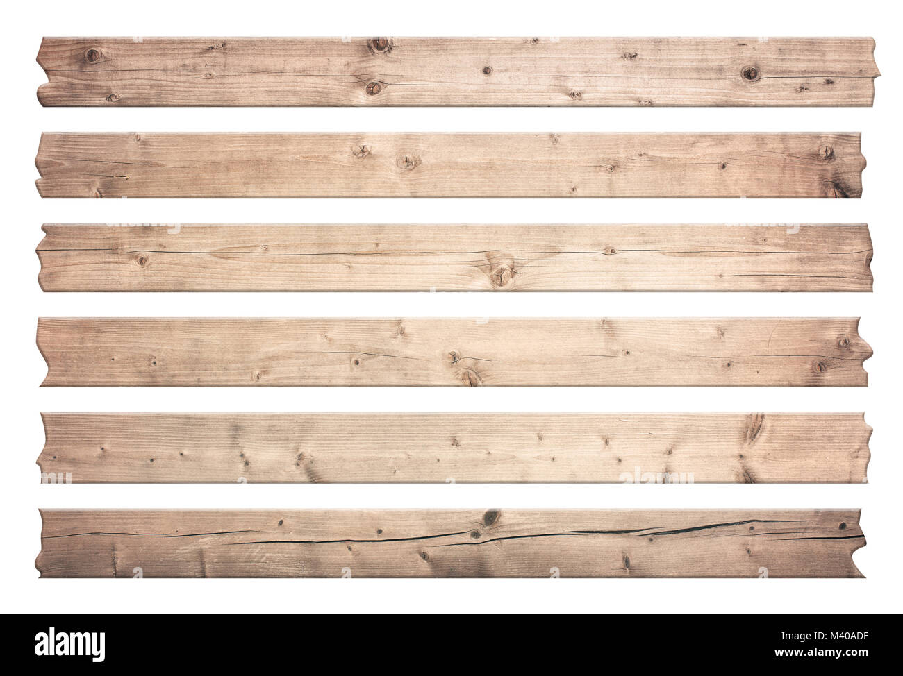 Old brown wooden planks for text are isolated on white background. - Stock Image