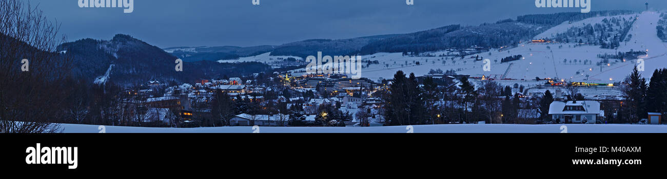 Willingen, Germany - February 6th, 2018 - Panoramic shot of the small ski resort town of Willingen in northern Hesse - Stock Image
