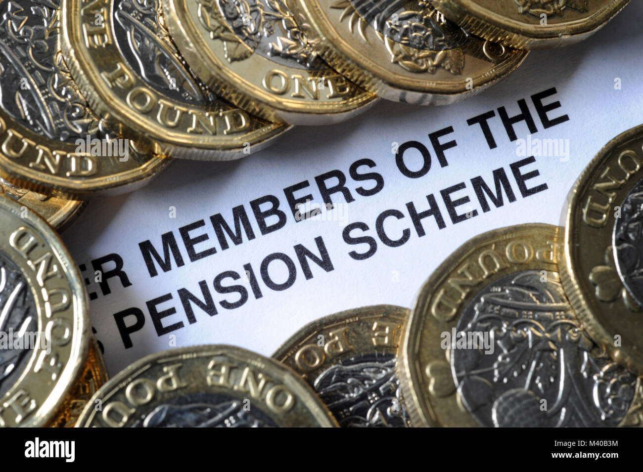 COMPANY PENSION SCHEME LITERATURE WITH ONE POUND COINS RE PENSIONS RETIREMENT PENSIONERS ETC UK - Stock Image