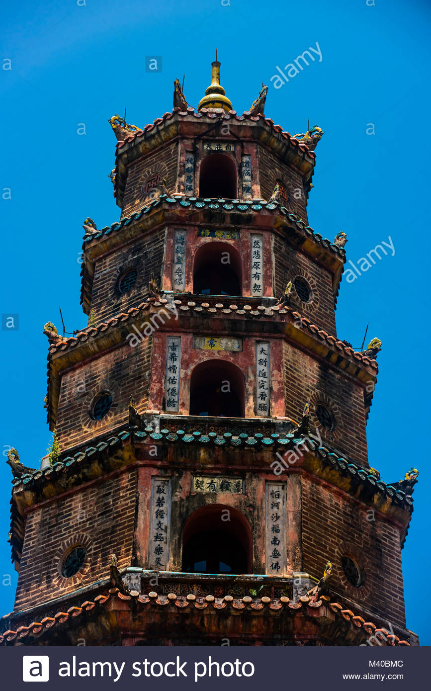 Thien Mu Pagoda (Pagoda of the Celestial Lady) is a historic temple in the city of Hue in Vietnam. Its iconic seven - Stock Image