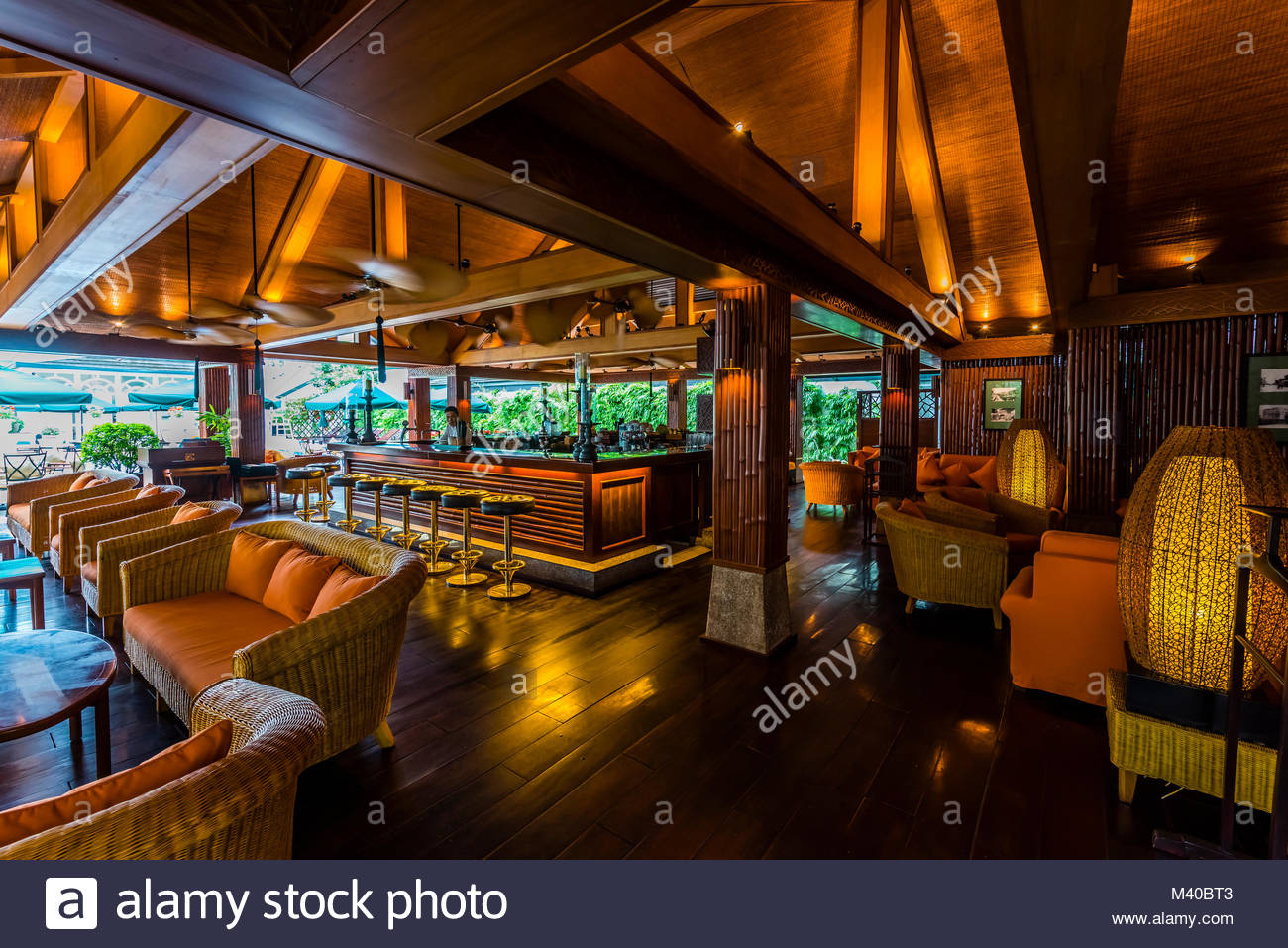 The Bamboo Bar at Sofitel Legend Metropole Hanoi is a 5 star historic luxury hotel opened in 1901 in the French - Stock Image