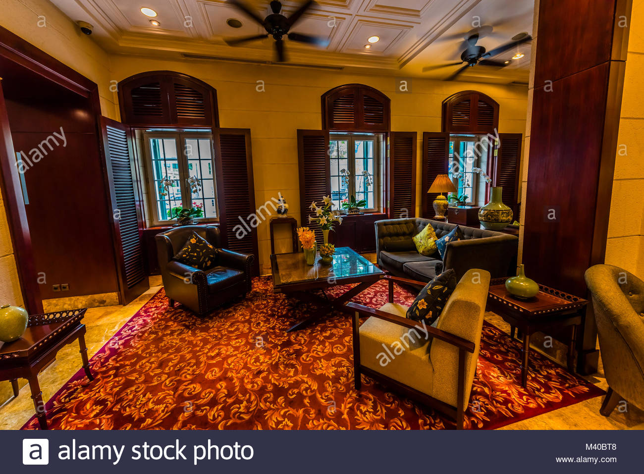 In the lobby of the Sofitel Legend Metropole Hanoi is a 5 star historic luxury hotel opened in 1901 in the French - Stock Image