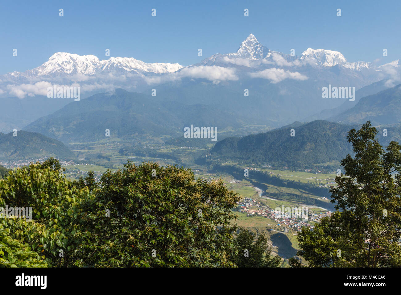 Panoramic Himalayan views from Sarankot, Pokhara, Nepal - Stock Image