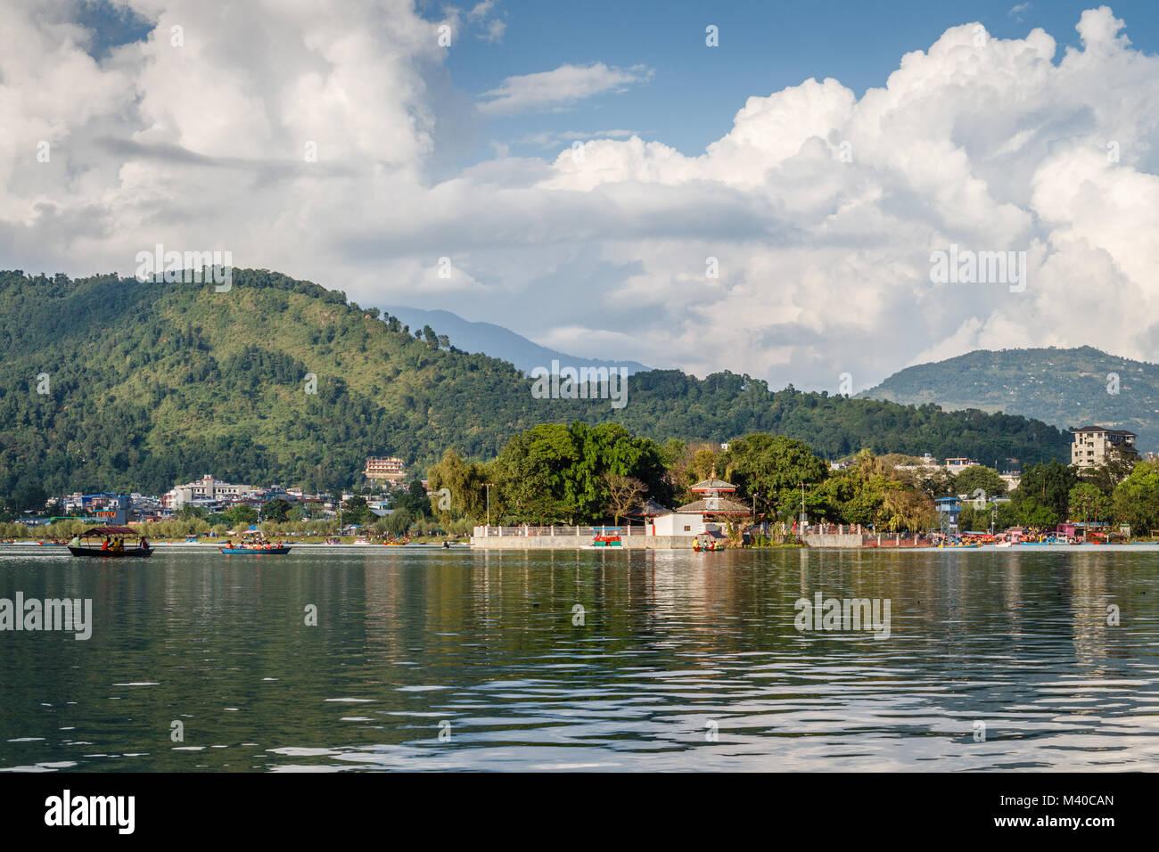 Views of Lake Side of Pokhara from Phewa Lake, Pokhara, Nepal - Stock Image