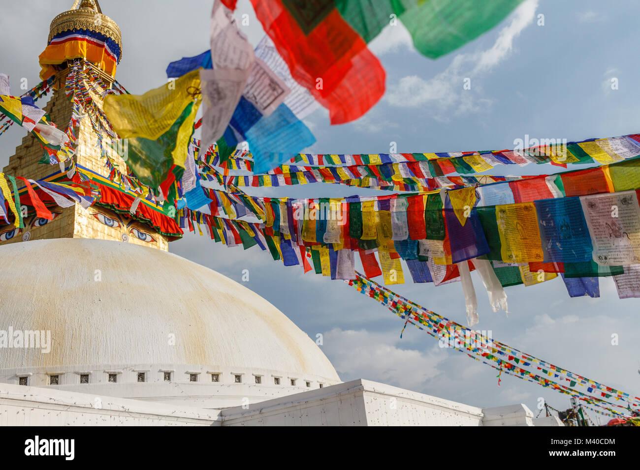 Boudhanath stupa with prayer flags, Kathmandu, Nepal - Stock Image