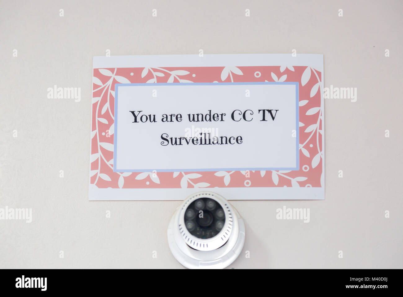 You Are Under CCTV Surveillance Sign with CCTV Camera notice posted at the official area. - Stock Image