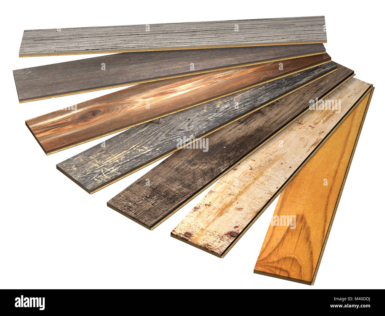 New planks of oak parquet of different colors with rustic texture. Isolated on white background. 3d render - Stock Image