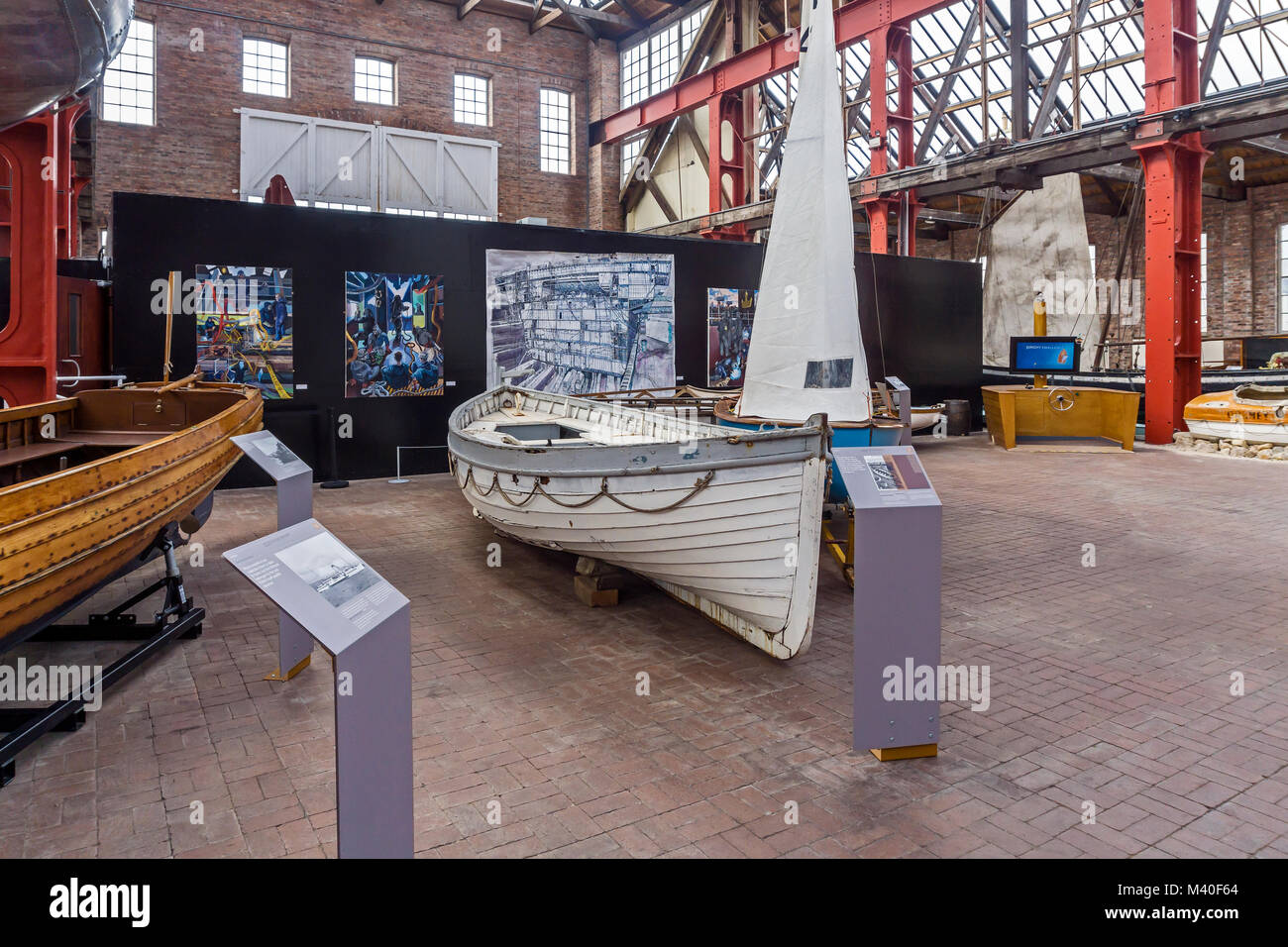 Interior of the Linthouse museum building at Scottish Maritime Museum in Irvine North Ayrshire Scotland UK with - Stock Image