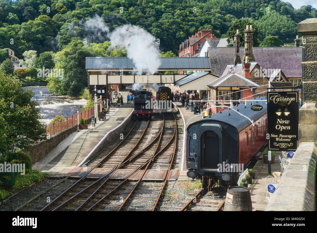 Llangollen Railway Station and River Dee, Denbighshire, Wales, UK Stock Photo