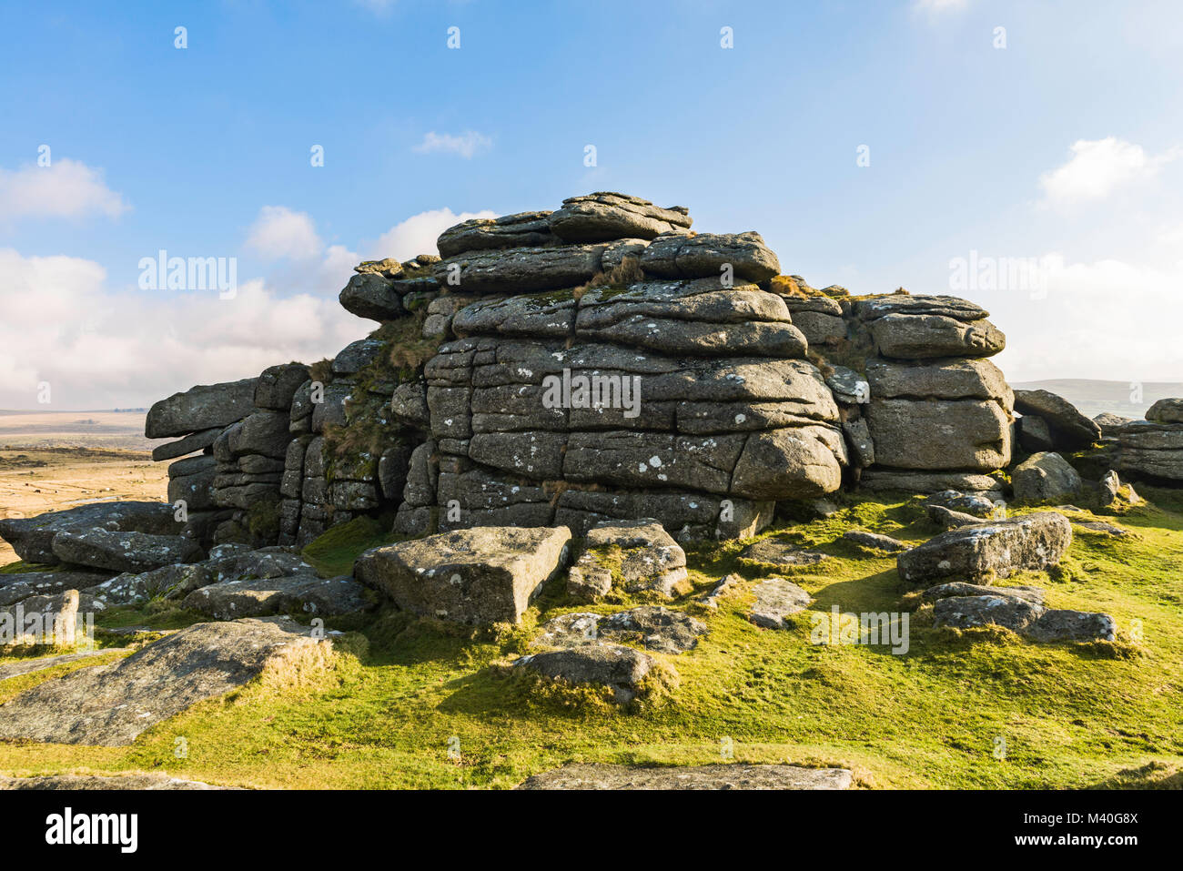 View of the top of Pew Tor in Dartmoor National Park, England, UK. - Stock Image