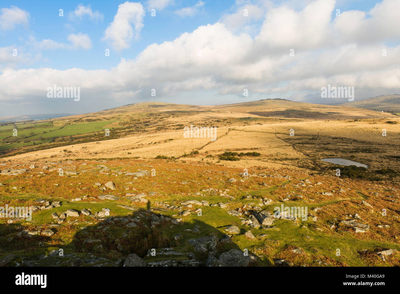 Moorland landscape view from the top of Pew Tor, Dartmoor National Park, Devon, UK. - Stock Image