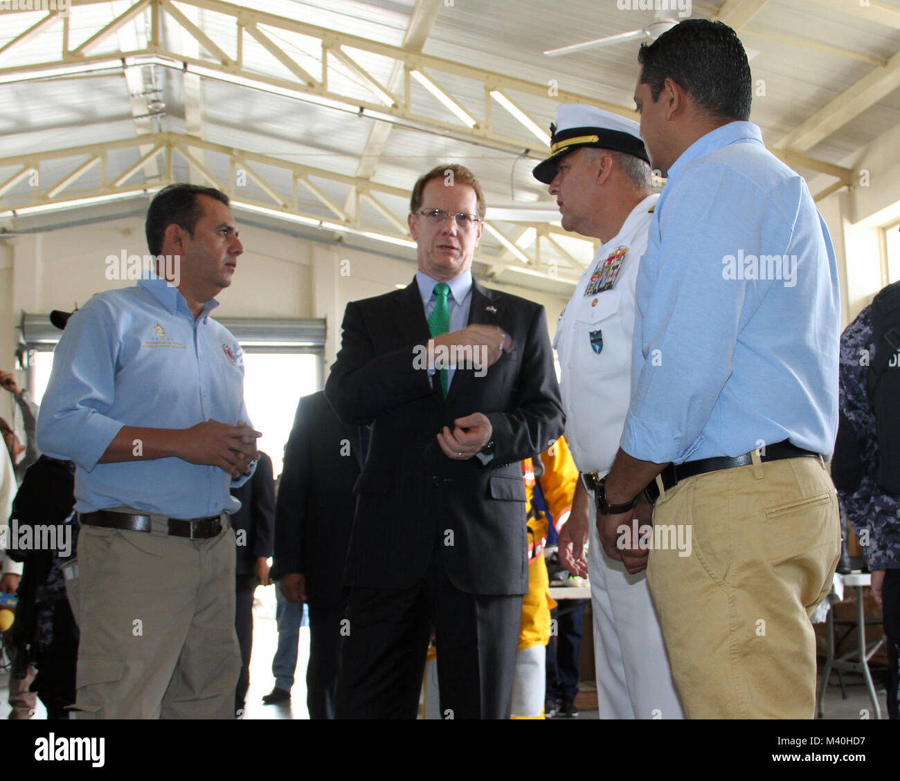 Honduran Commissioner of Disaster Preparation and Response, Moises Alvarado, left, U.S. Ambassador to Honduras, Stock Photo