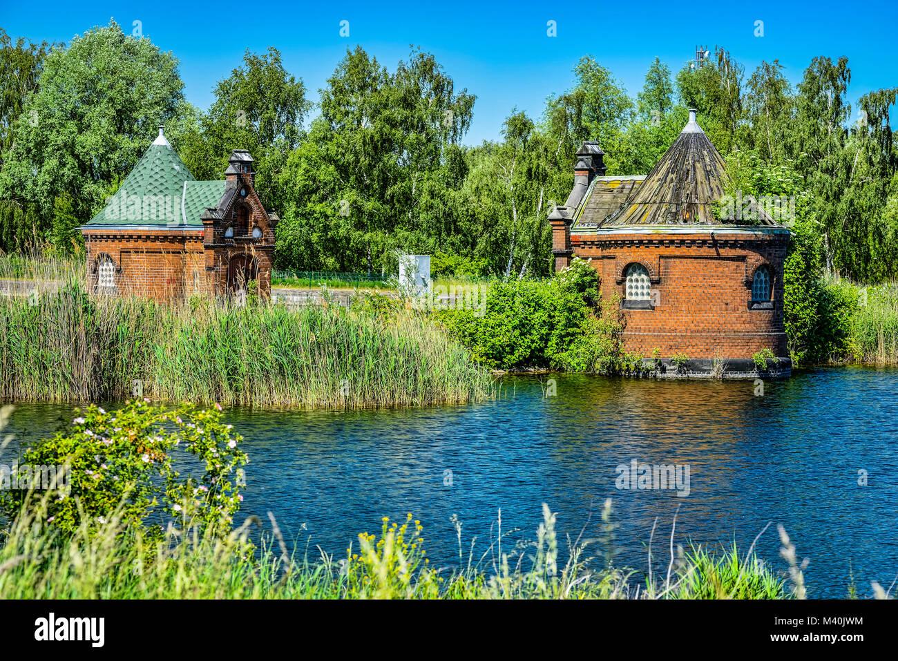 Historical spool cottage in cold stables, rothenburgsort, Hamburg, Germany, Europe, Historische Schieberhäuschen Stock Photo