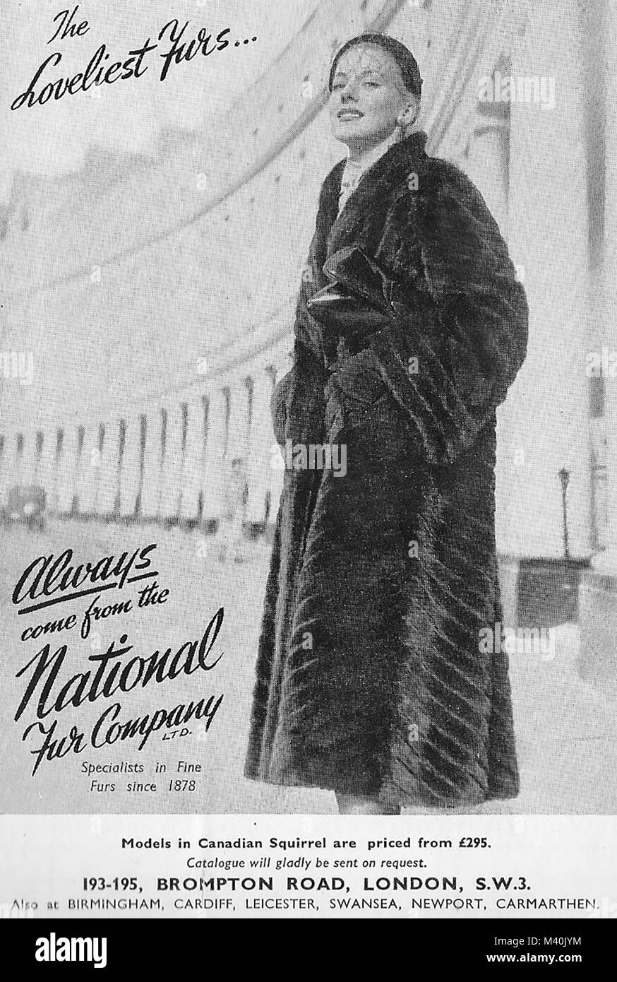 Women fur cots advert National Fur Company, , advertising in Country Life magazine UK 1951 - Stock Image