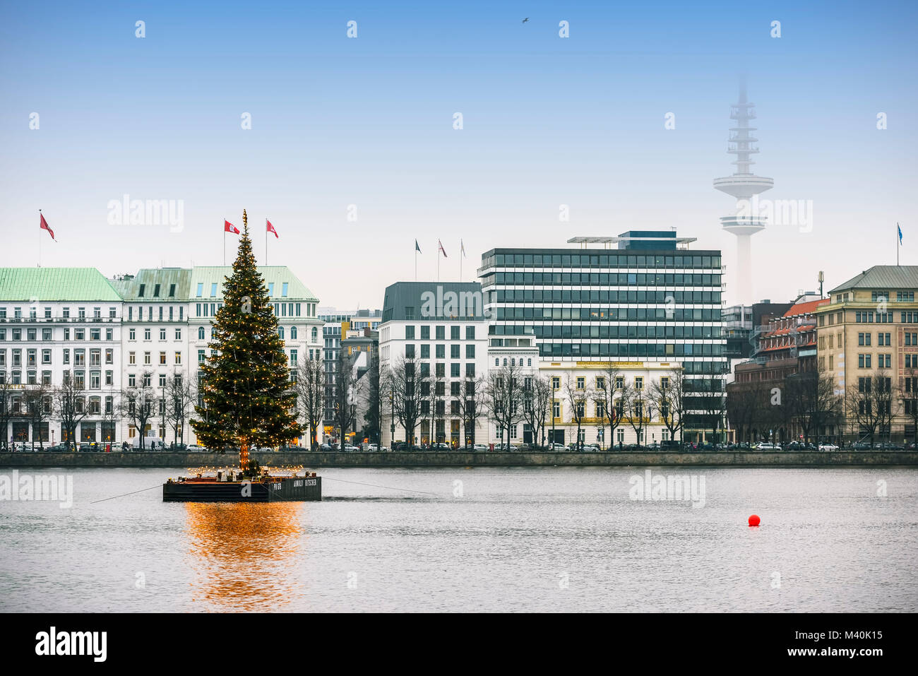 On the Inner Alster Lake Alster fir at Christmas time in Hamburg, Germany, Europe, Alstertanne zur Weihnachtszeit - Stock Image