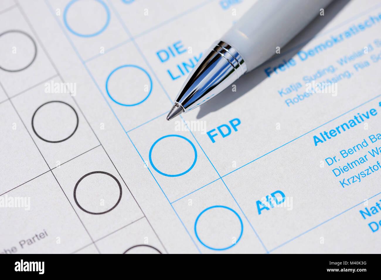 Ballot in the federal elections., Stimmzettel zur Bundestagswahl - Stock Image