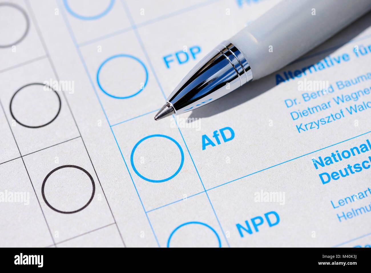Ballots for the Bundestag election, AFD, Stimmzettel zur Bundestagswahl - Stock Image