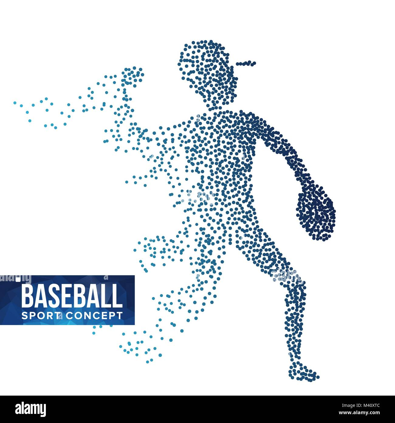 Baseball Player Silhouette Vector. Grunge Halftone Dots. Dynamic Baseball Athlete In Action. Flying Dotted Particles. Stock Vector